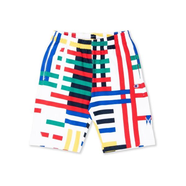 Champion Reverse Weave Multi Stripe Long Bermuda Short (White/Multi)