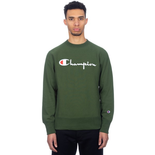 Champion Reverse Weave Script Applique Crew Neck Sweatshirt (Forest Green)