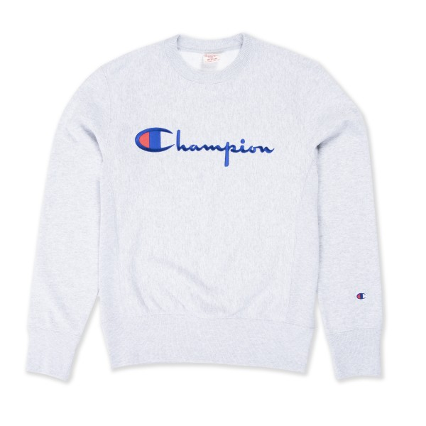 Champion Reverse Weave Script Applique Crew Neck Sweatshirt (Light Oxford Grey)