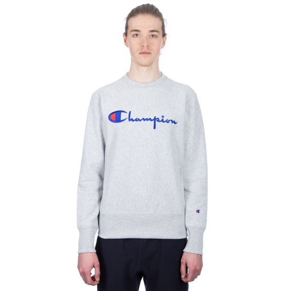 Champion Reverse Weave Script Applique Crew Neck Sweatshirt (Light Oxford Grey)