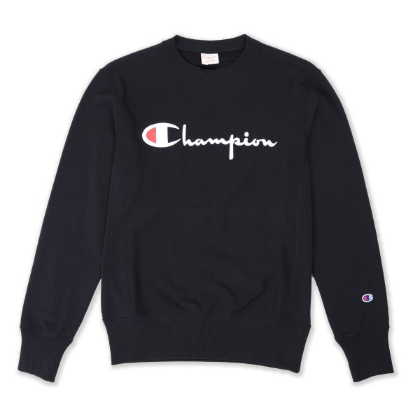 Champion Reverse Weave Script Applique Crew Neck Sweatshirt (New Black)