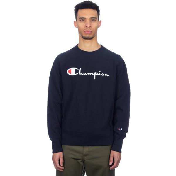 Champion Reverse Weave Script Applique Crew Neck Sweatshirt (New Navy)