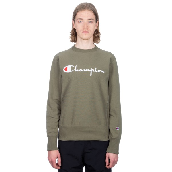 Champion Reverse Weave Script Applique Crew Neck Sweatshirt (Olive)