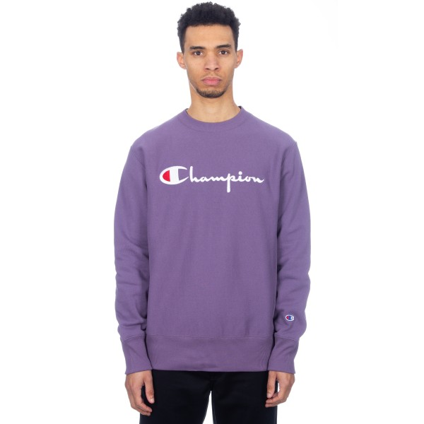 Champion Reverse Weave Script Applique Crew Neck Sweatshirt (Purple)