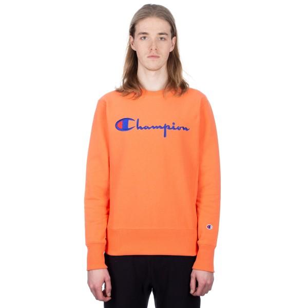 Champion Reverse Weave Script Applique Crew Neck Sweatshirt (Salmon)