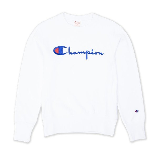 Champion Reverse Weave Script Applique Crew Neck Sweatshirt (White)