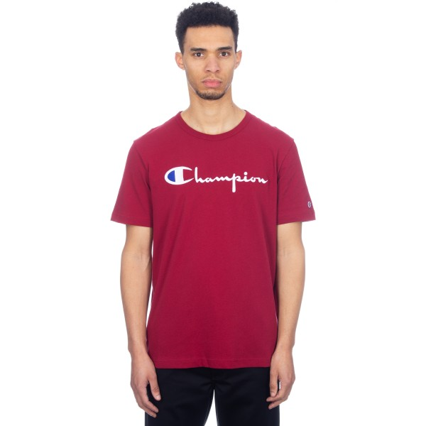 Champion Reverse Weave Script Applique Crew Neck T-Shirt (Burgundy)