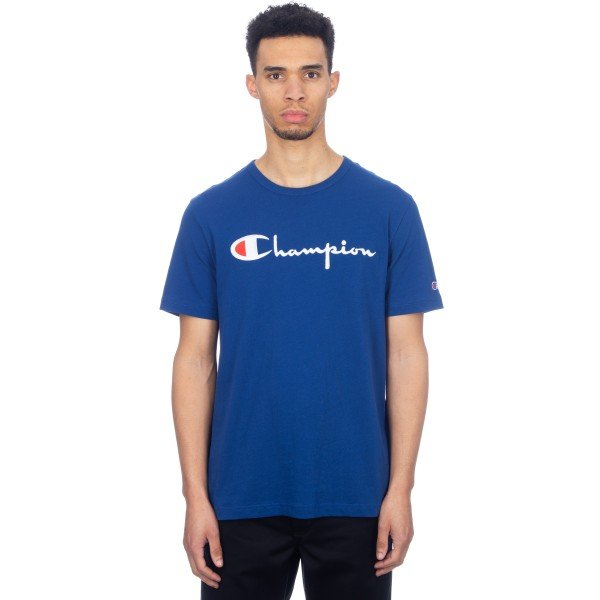 Champion Reverse Weave Script Applique Crew Neck T-Shirt (Dark Blue)