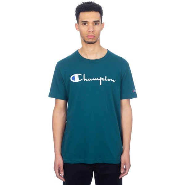 Champion Reverse Weave Script Applique Crew Neck T-Shirt (Dark Teal)