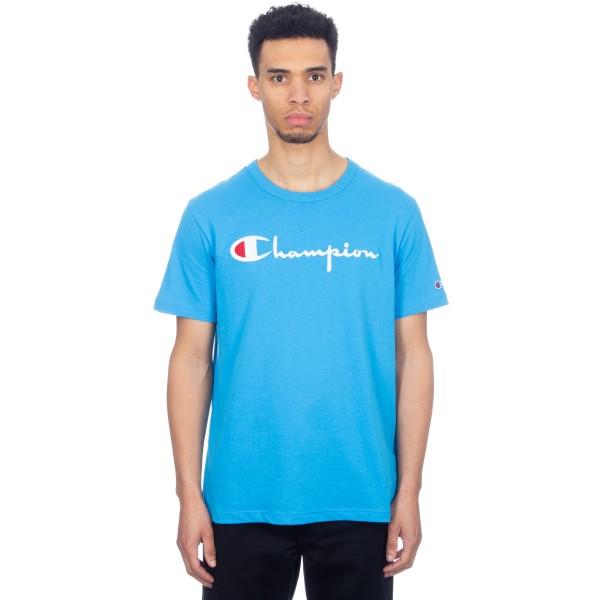 Champion Reverse Weave Script Applique Crew Neck T-Shirt (Light Blue)