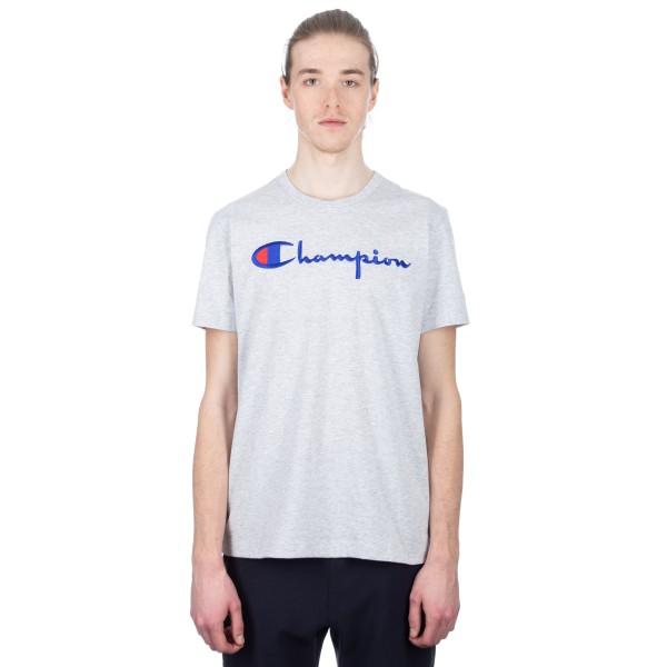 Champion Reverse Weave Script Applique Crew Neck T-Shirt (Light Oxford Grey)