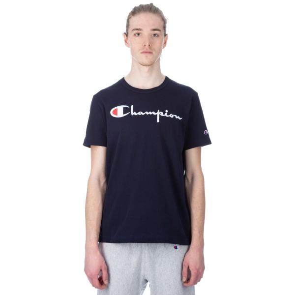 Champion Reverse Weave Script Applique Crew Neck T-Shirt (New Navy)