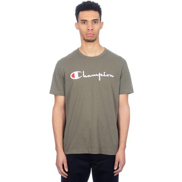 Champion Reverse Weave Script Applique Crew Neck T-Shirt (Olive)