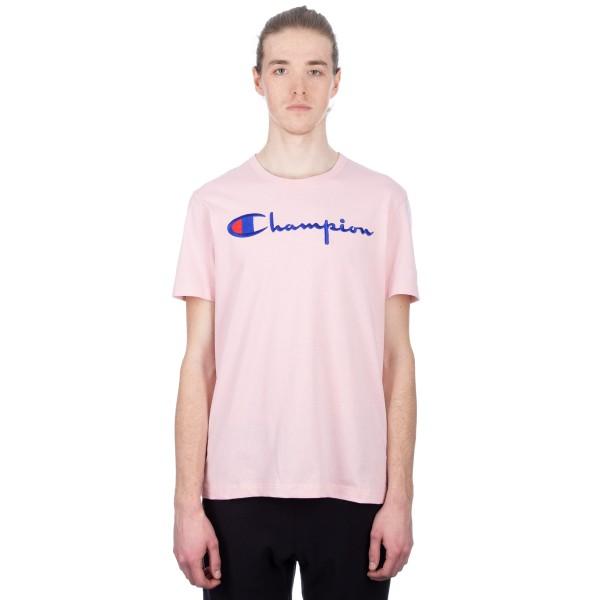 Champion Reverse Weave Script Applique Crew Neck T-Shirt (Pink)