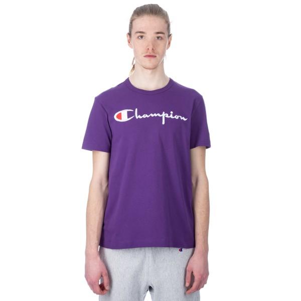 Champion Reverse Weave Script Applique Crew Neck T-Shirt (Purple)