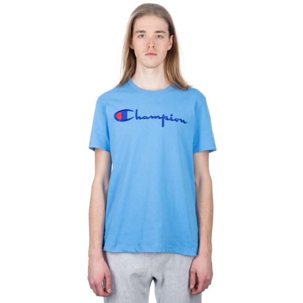 Champion Reverse Weave Script Applique Crew Neck T-Shirt (Sky Blue)