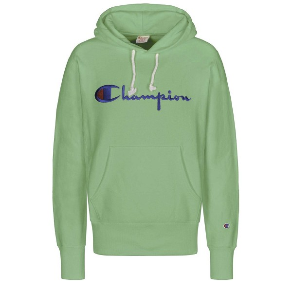 Champion Reverse Weave Script Applique Pullover Hooded Sweatshirt (Green)