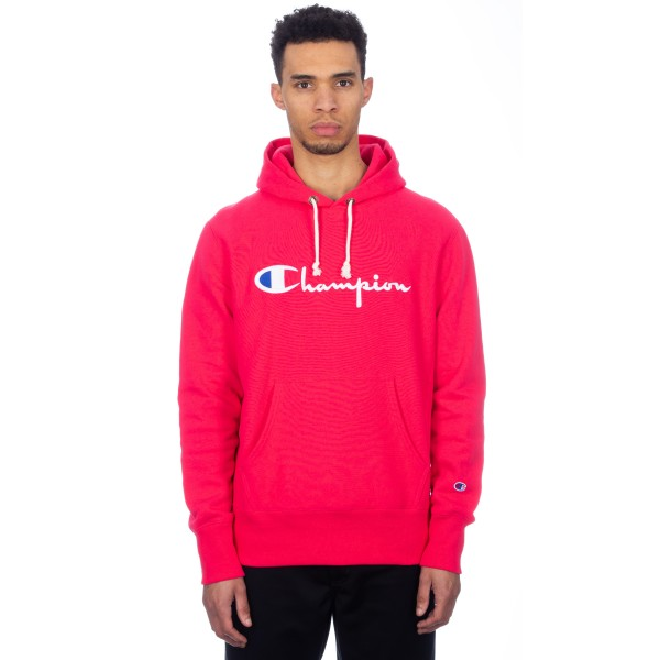 Champion Reverse Weave Hood Script Applique Pullover Hooded Sweatshirt (Hot Pink)