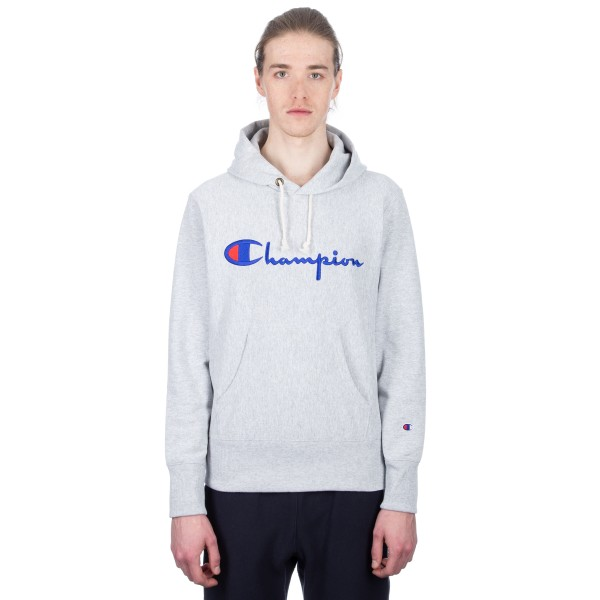 Champion Reverse Weave Script Applique Pullover Hooded Sweatshirt (Light Oxford Grey)