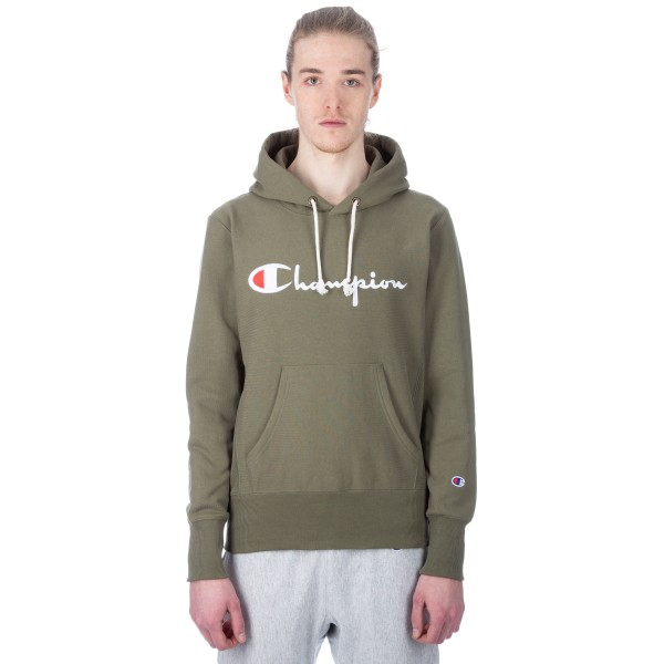 Champion Reverse Weave Script Applique Pullover Hooded Sweatshirt (Olive)