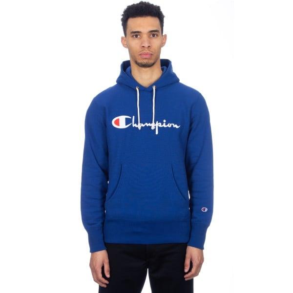 Champion Reverse Weave Script Applique Pullover Hooded Sweatshirt (Royal Blue)