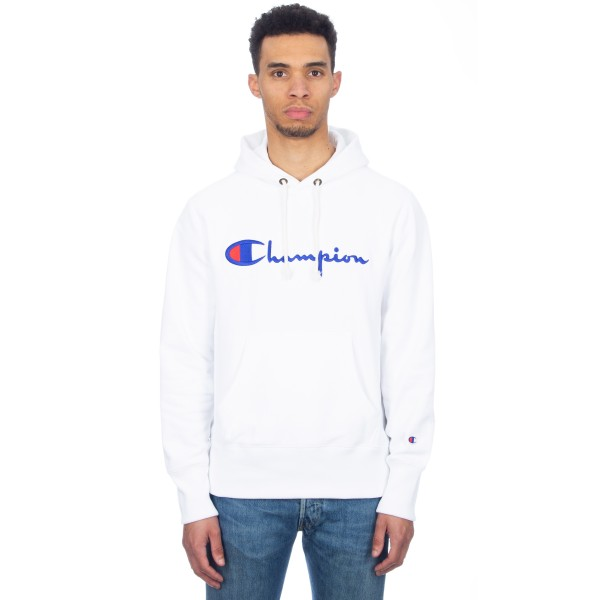 Champion Reverse Weave Script Applique Pullover Hooded Sweatshirt (White)