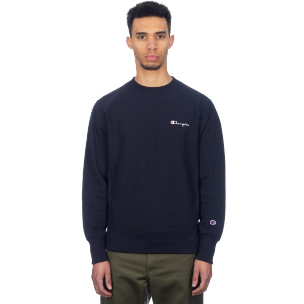 Champion Reverse Weave Script Logo Back Crew Neck Sweatshirt (Navy)