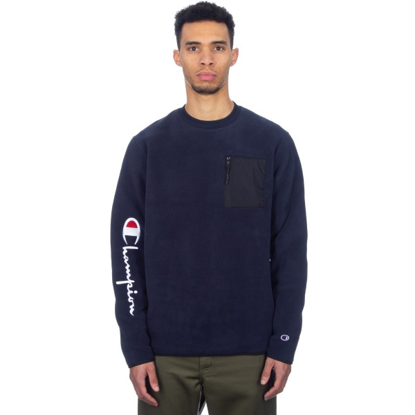 Champion Reverse Weave Sleeve Script Crew Neck Fleece (Navy/Black)