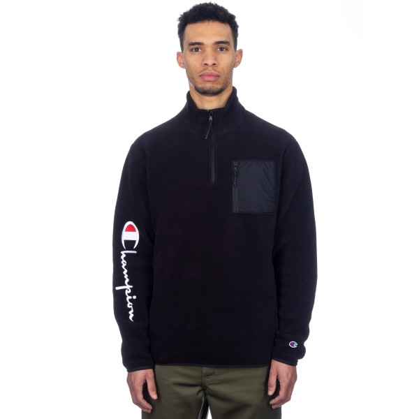 Champion Reverse Weave Sleeve Script Half Zip Fleece (Black/Black)