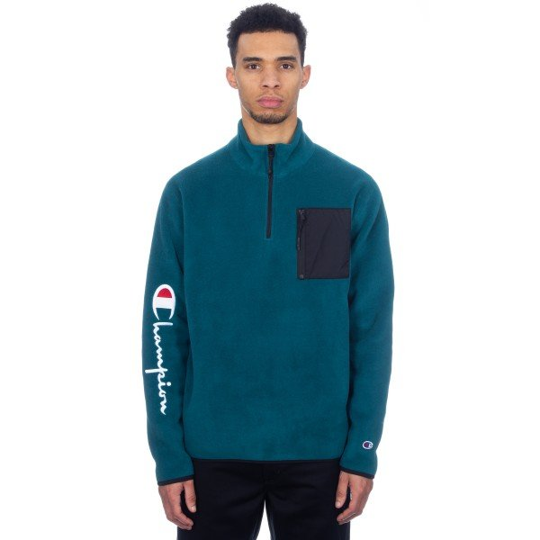 Champion Reverse Weave Sleeve Script Half Zip Fleece (Teal/Black)