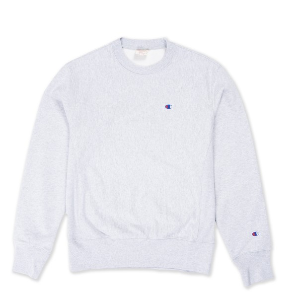 Champion Reverse Weave Small C Crew Neck Sweatshirt (Light Oxford Grey)