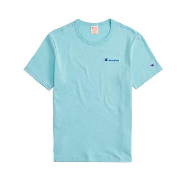Champion Reverse Weave Small Script Crew Neck T-Shirt (Light Blue)