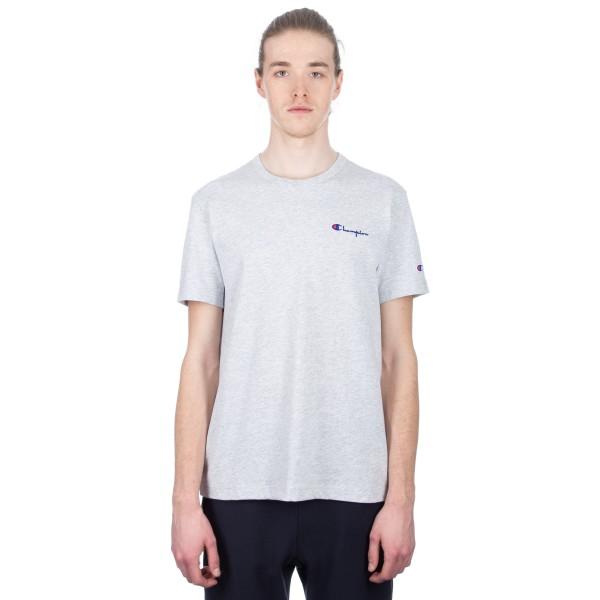 Champion Reverse Weave Small Script Crew Neck T-Shirt (Light Oxford Grey)
