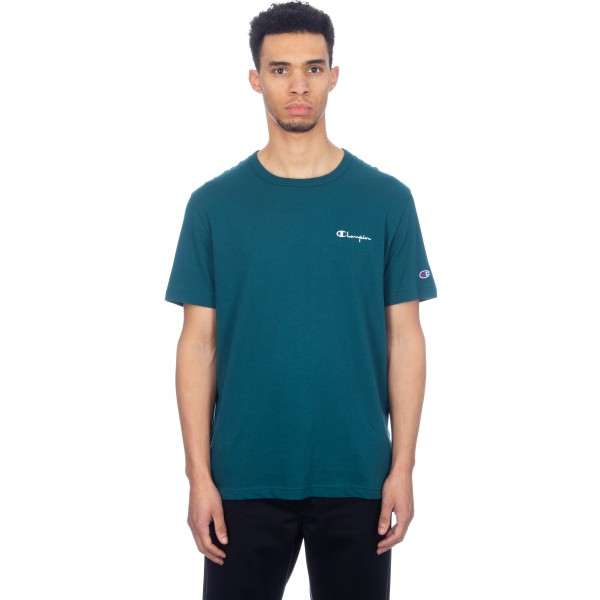 Champion Reverse Weave Small Script Crew Neck T-Shirt (Teal)