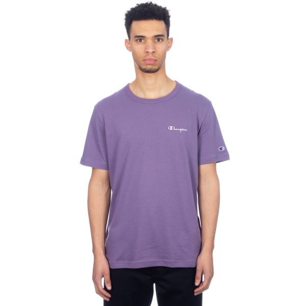 Champion Reverse Weave Small Script Crew Neck T-Shirt (Purple)