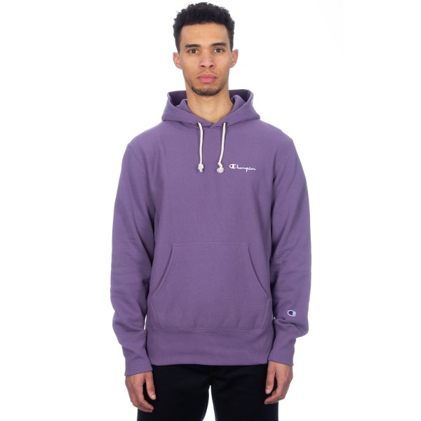 Champion Reverse Weave Small Script Applique Pullover Hooded Sweatshirt (Purple)