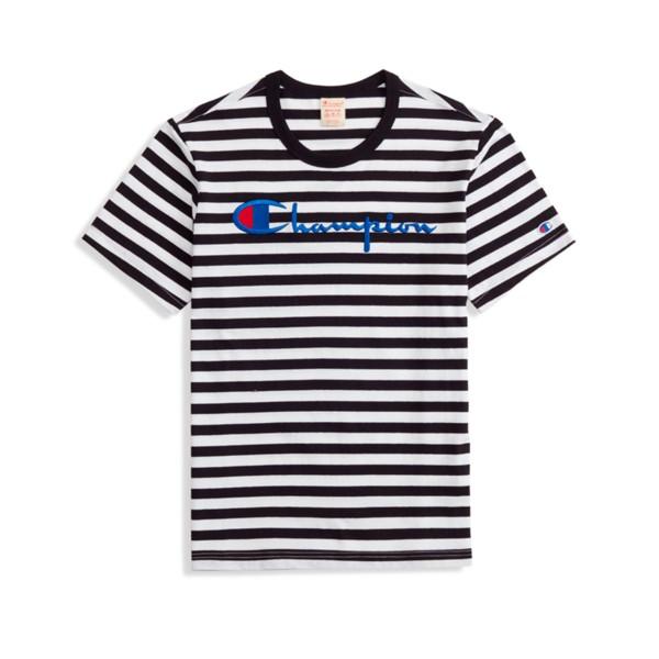 Champion Reverse Weave Striped Script Logo Crew Neck T-Shirt (Black/White)