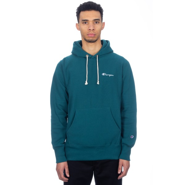 Champion Reverse Weave Small Script Applique Pullover Hooded Sweatshirt (Teal)