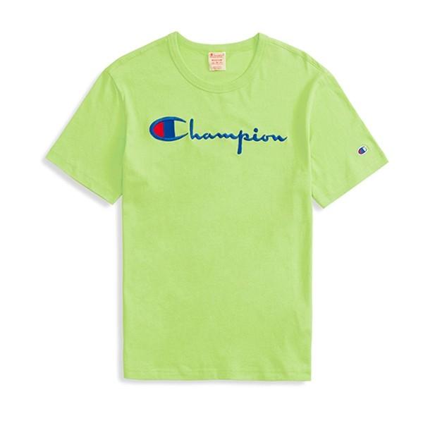 Champion Reverse Weave Script Applique Crew Neck T-Shirt (Lime)
