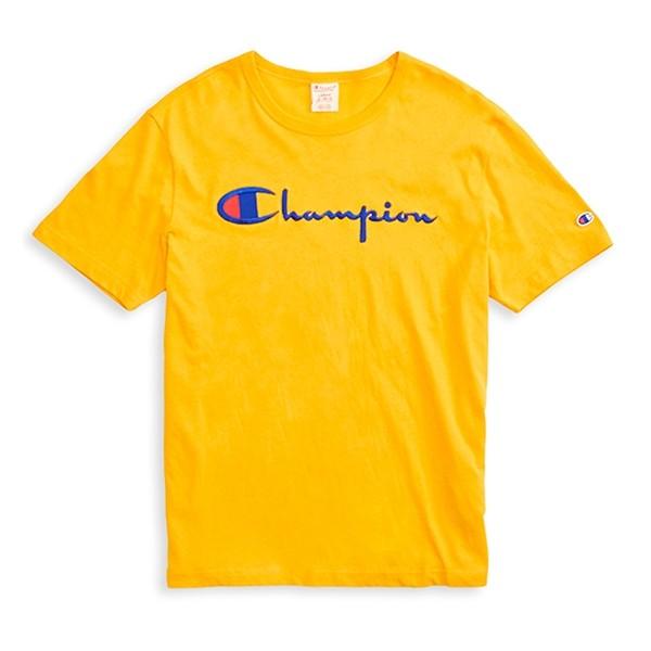 Champion Reverse Weave Script Applique Crew Neck T-Shirt (Yellow)