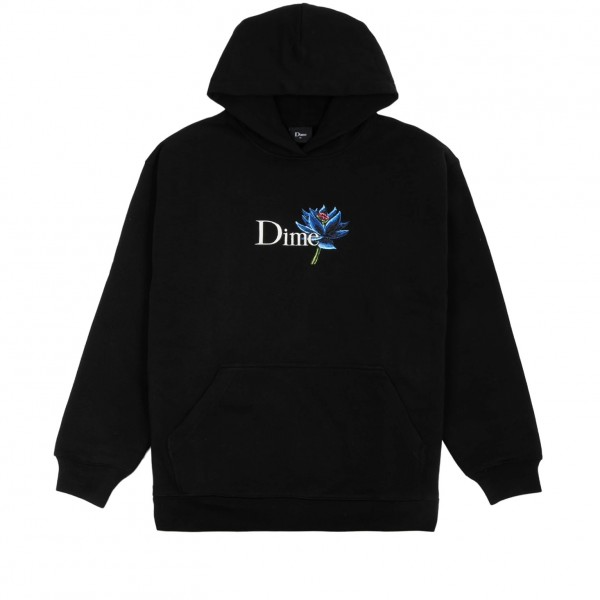 Dime Black Lotus Embroidered Pullover Hooded Sweatshirt (Black)