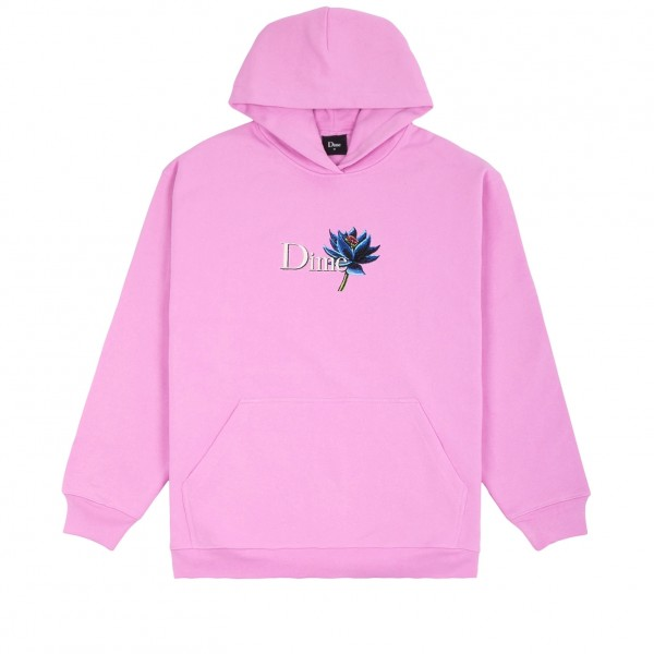 Dime Black Lotus Embroidered Pullover Hooded Sweatshirt (Light Pink)