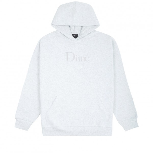 Dime Classic Logo Embroidered Pullover Hooded Sweatshirt (Ash)