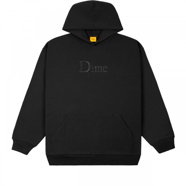 Dime Classic Logo Embroidered Pullover Hooded Sweatshirt (Black)