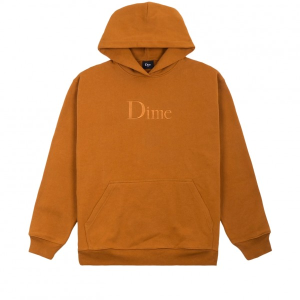 Dime Classic Logo Embroidered Pullover Hooded Sweatshirt (Coffee)