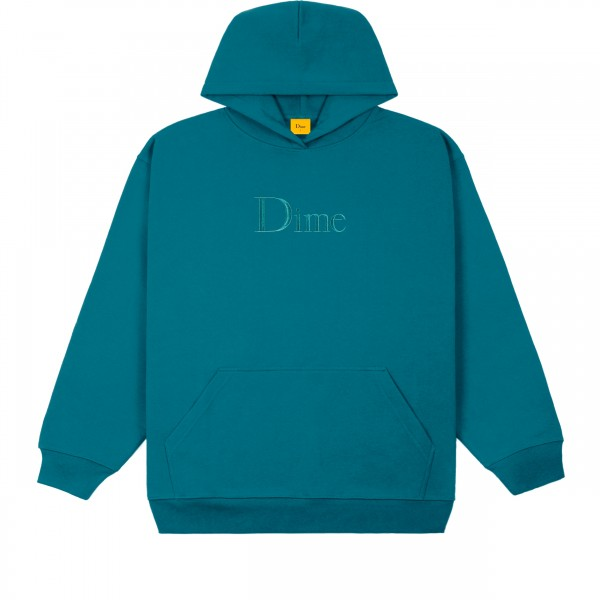 Dime Classic Logo Embroidered Pullover Hooded Sweatshirt (Real Teal)