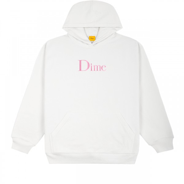 Dime Classic Logo Embroidered Pullover Hooded Sweatshirt (White)