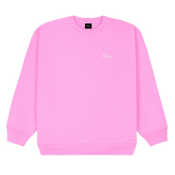Dime Classic Small Logo Embroidered Crew Neck Sweatshirt (Light Pink)