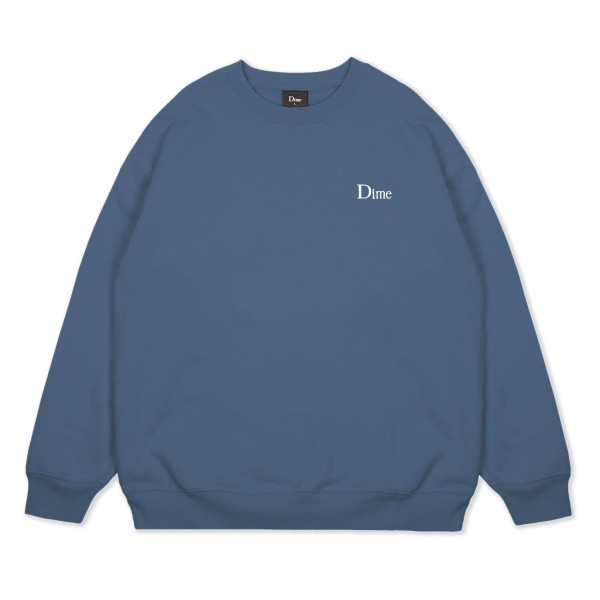 Dime Classic Small Logo Embroidered Crew Neck Sweatshirt (Slate)