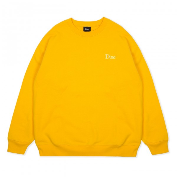 Dime Classic Small Logo Embroidered Crew Neck Sweatshirt (Yellow)